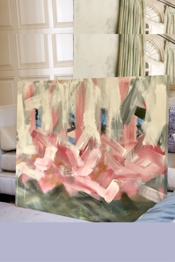 Pink painting abstract canvas art Nashville artist Angela Simeone interiors interior design