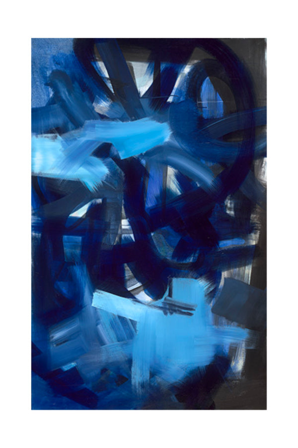 Blue abstract painting on canvas nashville artist angela simeone