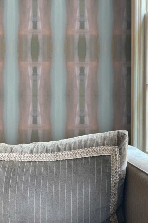 Ikat Column Wash Medium Wallpaper