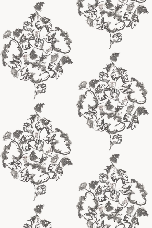 Trellis Peony White wallpaper by Nashville artist Angela Simeone artful wallpaper for interior designers and homes of design