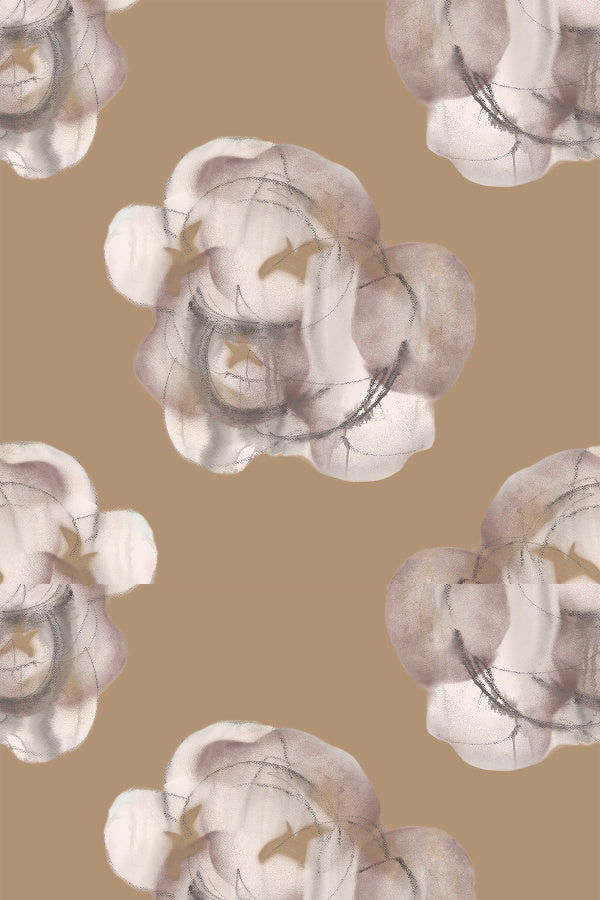 Modern Flower Bronze XL is a large scale wallpaper pattern by Nashville artist Angela Simeone created from original paintings and art for the design lover and interior designer