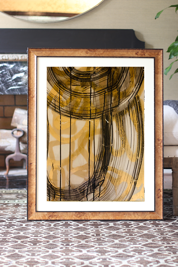 bronze metallic abstract watercolor painting art Nashville artist Angela Simeone