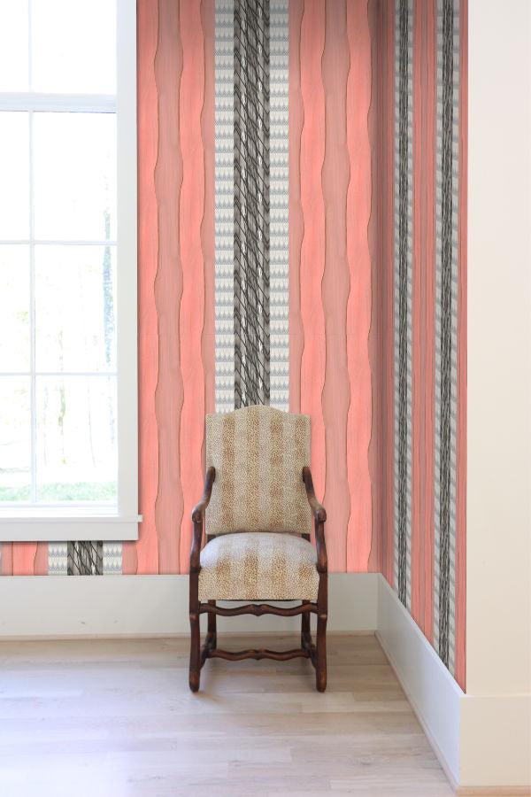 Palm Peach Stripe Wallpaper Nashville artist Angela Simeone art wallpapers interiors interior design designer