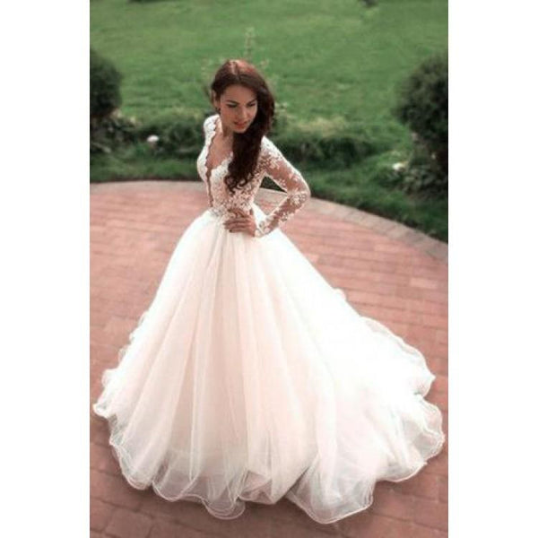 Princess A-Line V-Neck Tulle Ivory Long Sleeves Wedding Dresses,Dresses For Wedding Party ,WDY0163