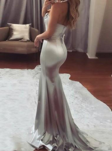 Brilliant Satin Strapless Neckline Sliver Ball Gown Prom Dresses With Sequin & Beadings.PDY0248