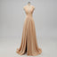 V-neck Side Slit Long Gold Bridesmaid Dresses,Sexy Bridesmaid Dresses,WGY0201