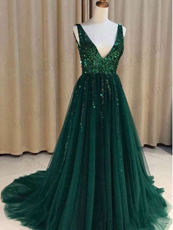 Sexy V-nevk V-back Green Tulle Evening Dresses,Cheap Prom Dresses,PDY0572