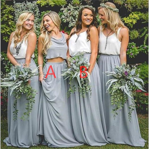 Two Piece Chiffon Bridesmaid Dresses, Blue Bridesmaid Dresses,Cheap Bridesmaid Dresses,WGY0264