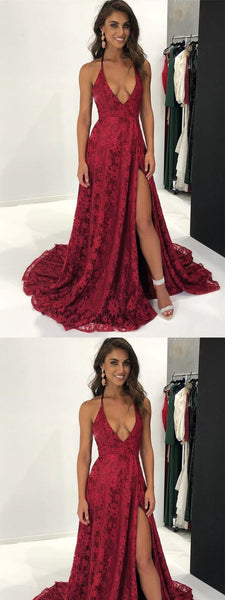 A-Line Spaghetti Straps Floor-Length Burgundy Prom Dress with Appliques,Evening Dresses,Party Dresses,PDY0331