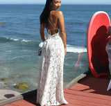 Simply V Neck White Tulle Backless Criss-cross Long Prom Dress,Evening Dresses,Party Dresses,PDY0326