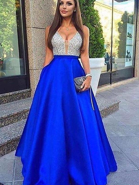 A-line V-neck Beaded Dark Blue Satin Prom Dresses,Cheap Prom Dresses