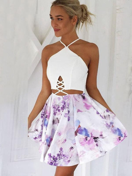 Sexy A-Line V-Neck Lace-up Short Floral Short Homecoming Dresses ,BDY0272