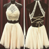 Lace two pieces open back sexy unique style Bohemian homecoming prom dress,BDY0149