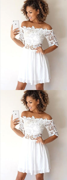 A-Line Off-the-Shoulder Half Sleeves White Lace Short Homecoming Dresses ,BDY0273