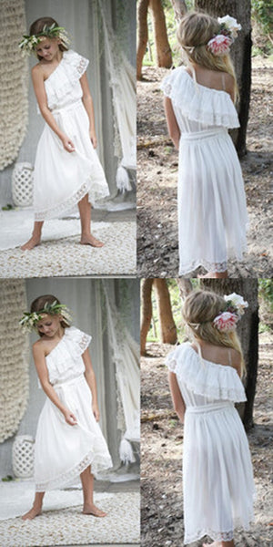 8234cee8925 One shoulder Chiffon White Lace Flower Girl Dress