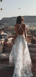 V-neck Ivory Lace Beach Wedding Dresses.Cheap Wedding Dresses, WDY0279