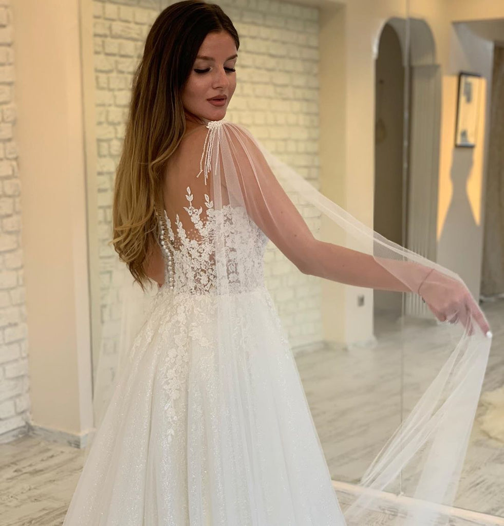 Sparkly Ivory Sequin Lace Appliqued A-line Long Cheap Wedding Dresses, WDS0052