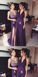 2019 Purple Chiffon Side Slit Long Evening Prom Dresses, bridesmaid dresses,Wedding Party Dresses,WGY0126