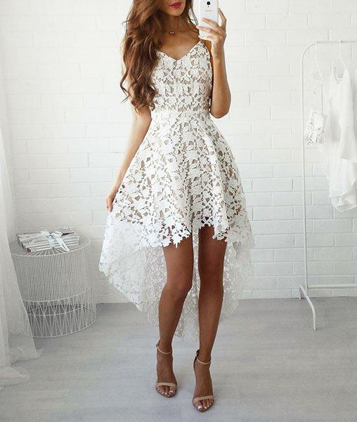 High-Low Lace Sleeveless Semi-Formal Dress With Belt, Homecoming Dress,BDY0155