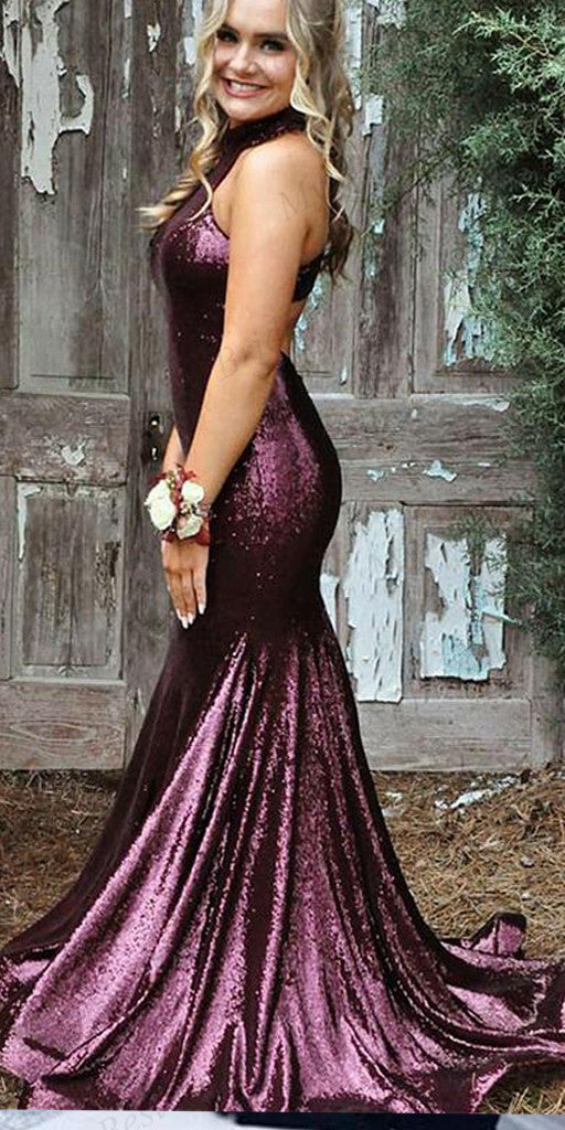 Mermaid High-neck Purple Sequin Evening Dresses ,Cheap Prom Dresses,PDY0590