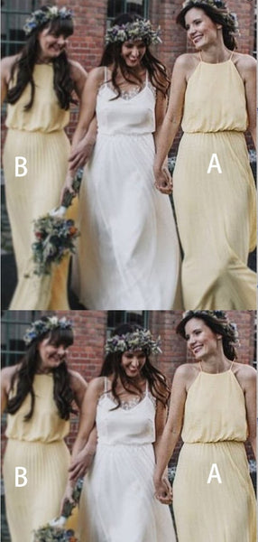 A-Line Halter Floor Length Yellow Chiffon Bridesmaid Dresses,Cheap Bridesmaid Dresses,WGY0371