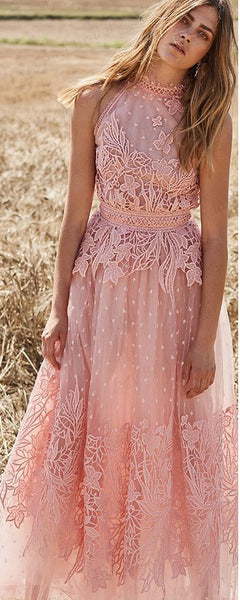 A-line High-neck Pink Tulle Evening Dresses ,Cheap Prom Dresses,PDY0609