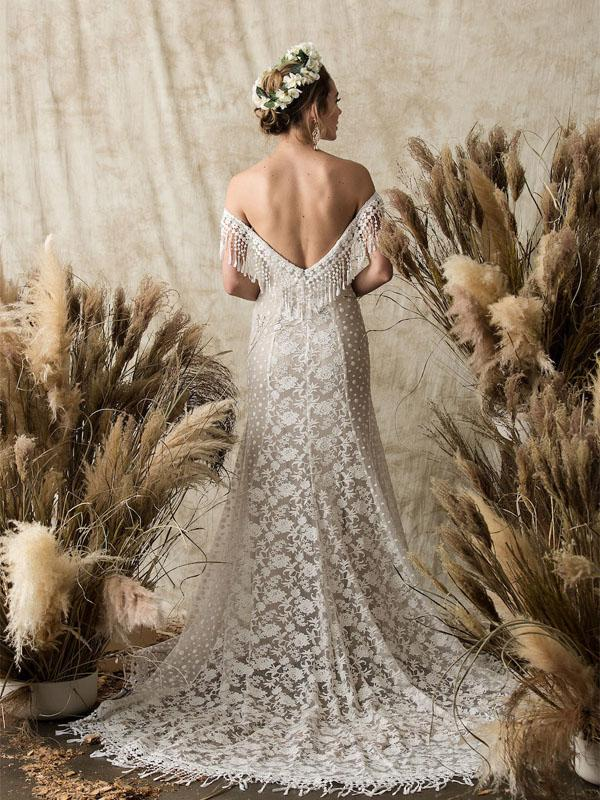Off-the-Shoulder White Lace Beach Wedding Dresses.Cheap Wedding Dresses, WDY0281