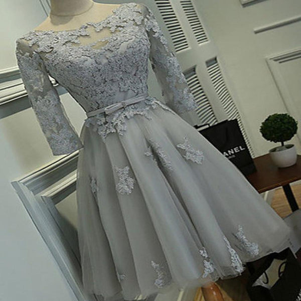 Grey lace tight simple lovely with half sleeve elegant homecoming prom gown dress,BDY0141