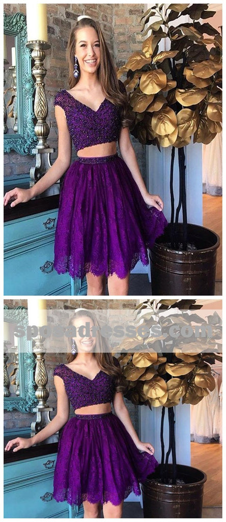 Sexy Two Pieces Cap Sleeves Cheap Short Homecoming Dresses Online, BDY0329