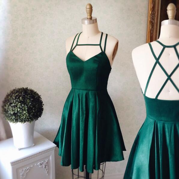 Cheap Simple Spaghetti Straps Emerald Green Homecoming Dresses, BDY0196