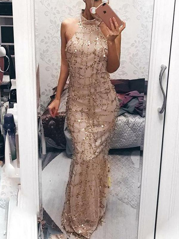 Sheath High Neck Sequied Evening Dresses ,Cheap Prom Dresses,PDY0594