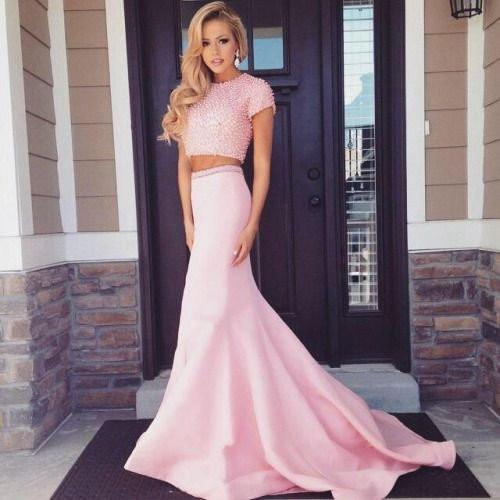 Two Pieces Short Sleeve Pink Beaded Satin Long Mermaid Prom Dresses, BG0131