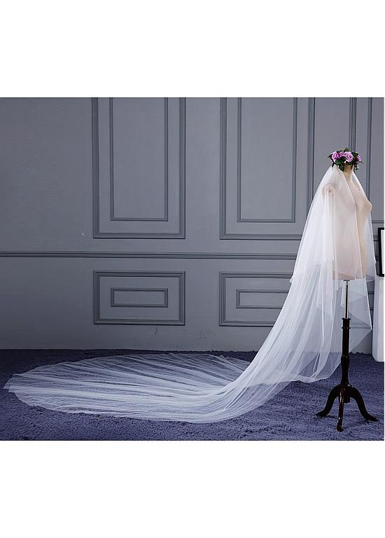 Simple Delicate Double Layer Tulle Ivory Wedding Veil , WV0117