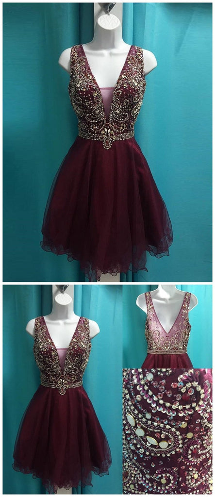 See Through V Neck Cute Beaded Maroon Homecoming Dresses 2018, BDY0262