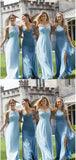 A-line Hlater Blue Chiffon Bridesmaid Dresses,Cheap Bridesmaid Dresses,WGY0375