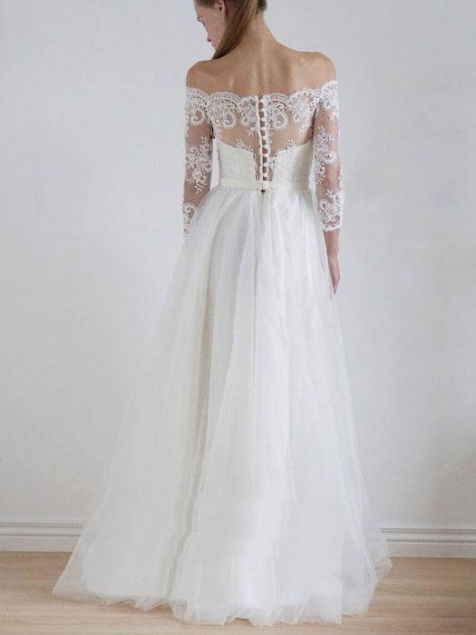 Off Shoulder Long Sleeve Lace A-line Cheap Wedding Dresses Online, WDY0205