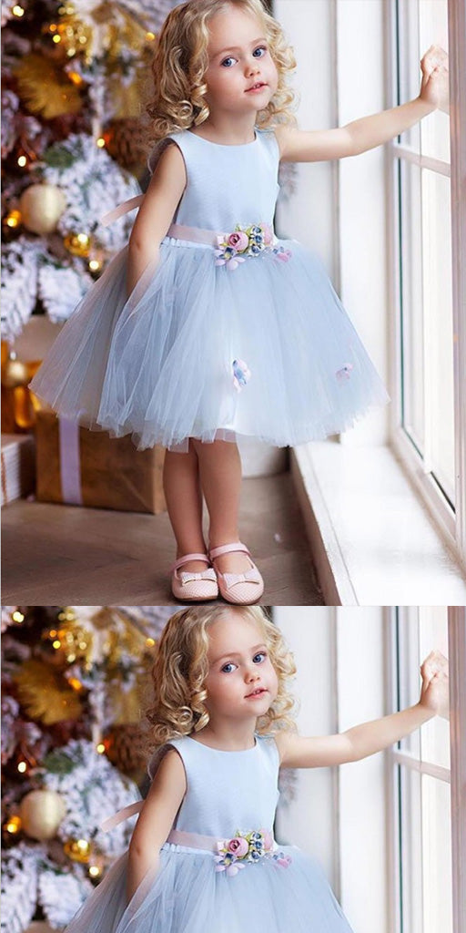 A-Line Knee Length Blue Tulle  Flower Girl Dress With Flowers,Cheap Flower Girl Dresses ,FGY0231