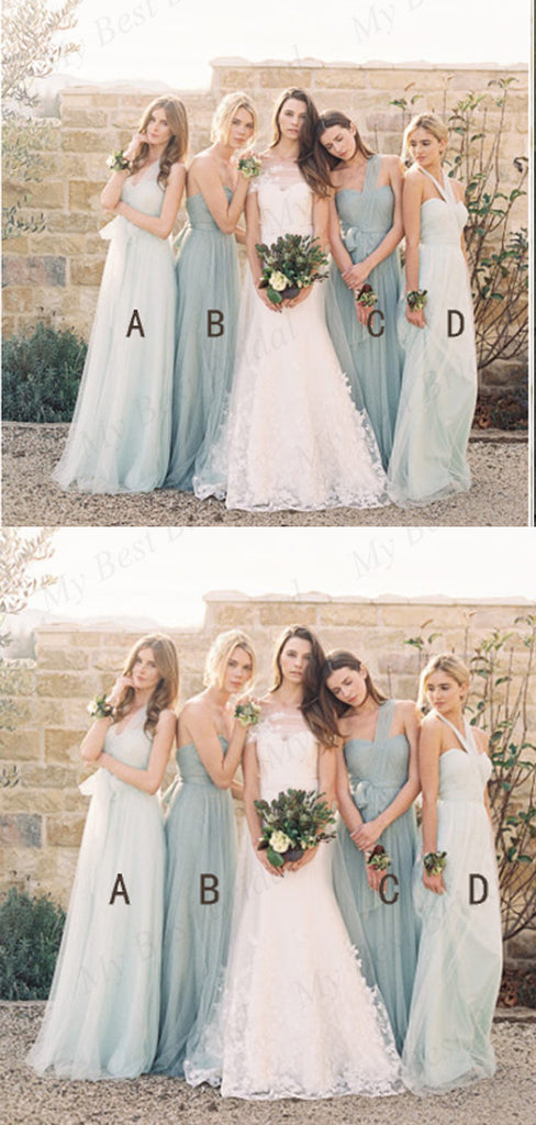 A-line Light Blue Tulle Long Bridesmaid Dresses,Cheap Bridesmaid Dresses,WGY0392