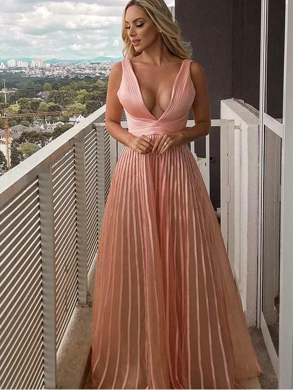 A-line V-neck Pink Tulle Evening Dresses ,Cheap Prom Dresses,PDY0593