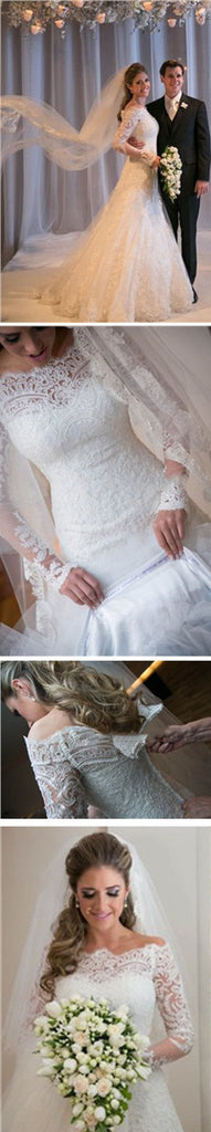 Gorgeous Off Shoulder Long Sleeve Zip Up Long A-line Princess Wedding Dresses, WDY0146