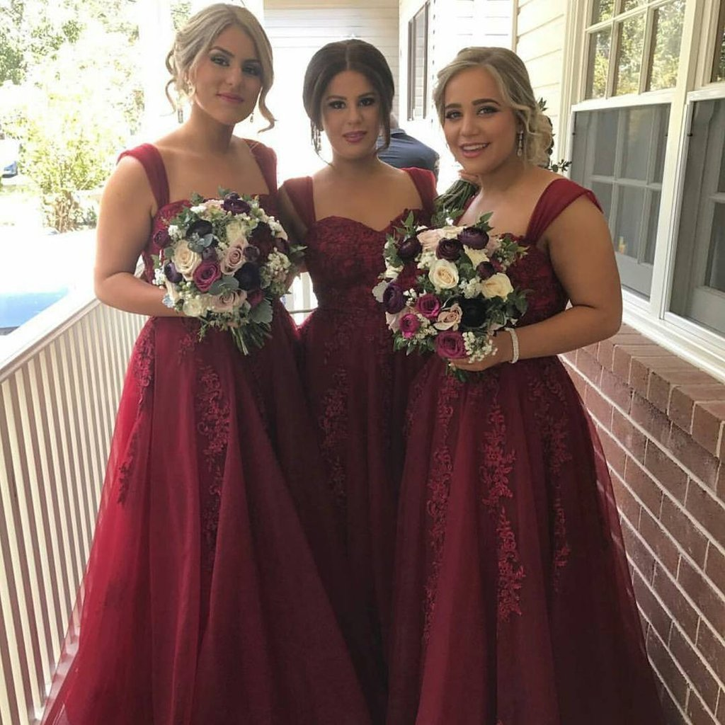 Popular Red Strap Long A-line Lace Tulle Bridesmaid Dresses Long Wedding Guest Dresses,Bridesmaid Dresses,WGY0168
