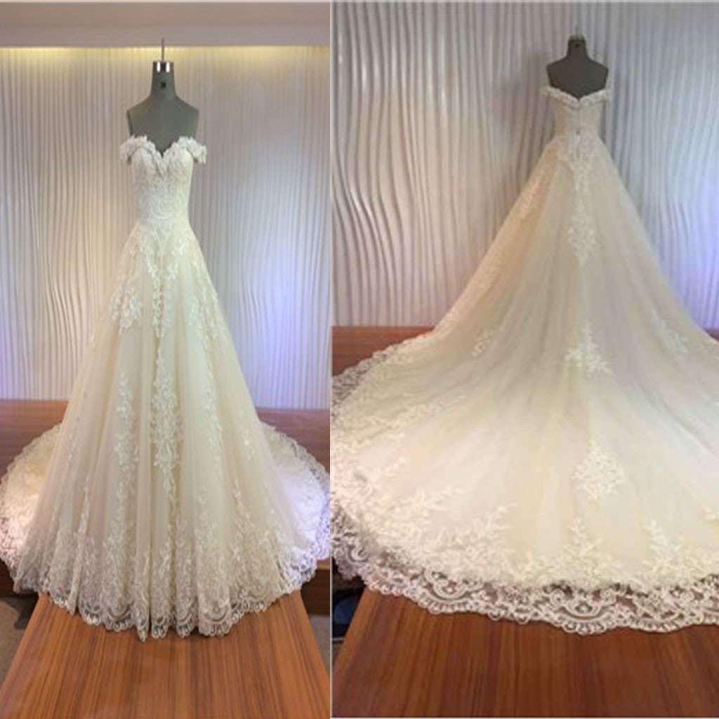 Gorgeous Off Shoulder Sweetheart Zip Up Long A-line Lace Wedding Dresses, WDY0147