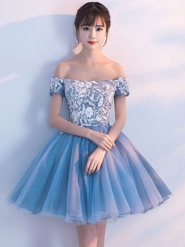Cheap Blue Off Shoulder Lace Cute Homecoming Dresses, BDY0195