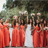 A-line Hlater Coral Chiffon Bridesmaid Dresses With Belt,Cheap Bridesmaid Dresses,WGY0376