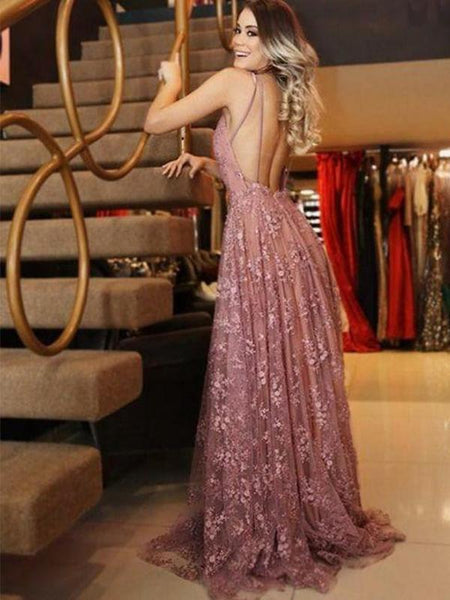 904528cd10d24 A-line V-neck Pink Lace Evening Dresses ,Cheap Prom Dresses,PDY0591 ...