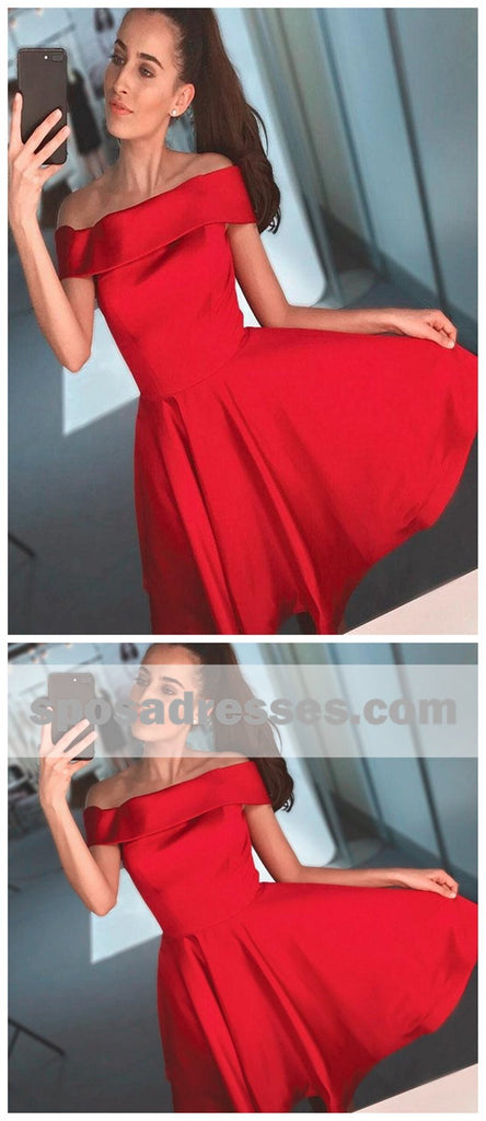 Simple Red Off Shoulder Cheap Short Homecoming Dresses 2018, BDY0327