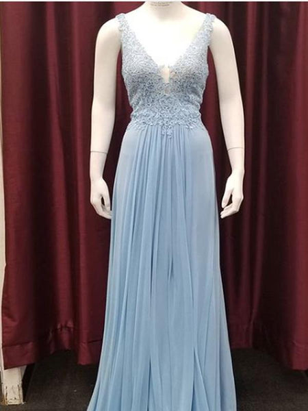 A-line V-neck Blue Lace Long Prom Dresses,Cheap Prom Dresses,PDY0515