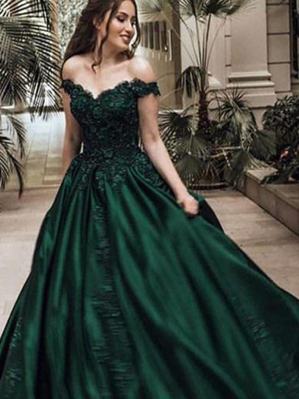 Off-the-Shoulder Emerald_green Lace Long Prom Dresses ,Cheap Prom Dresses,PDY0453