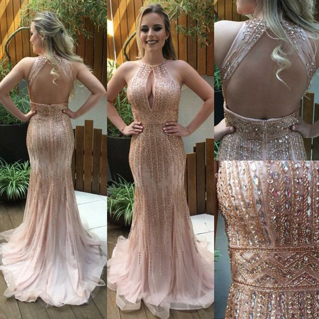 Sexy Backless Long Mermaid Beaded Luxury Prom Dress With Rhinestone,Evening Party Dress,PDY0367
