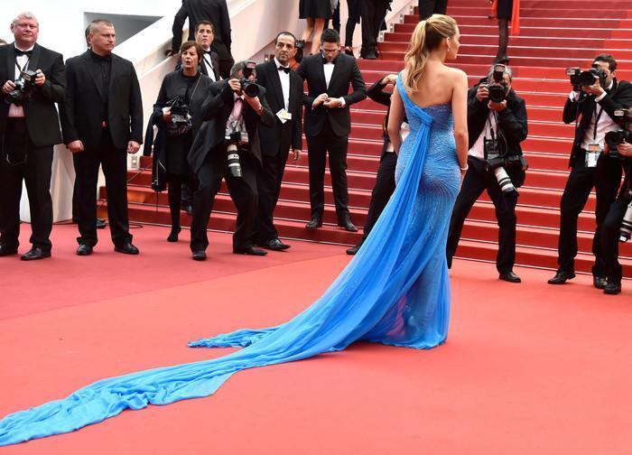 Black Lively Celebrity Inspired Blue Chiffon Shinny Side Slit Mermaid Prom Dresses, BG0165